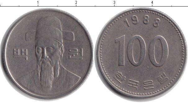 Картинка Барахолка Южная Корея 100 вон Медно-никель 1988