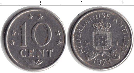 Картинка Барахолка Антильские острова 10 центов Медно-никель 1974