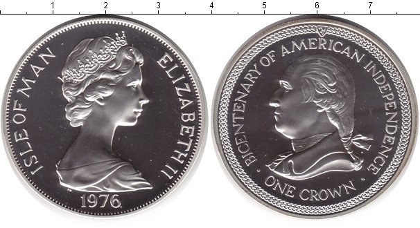 Картинка Монеты Остров Мэн 1 крона Серебро 1976