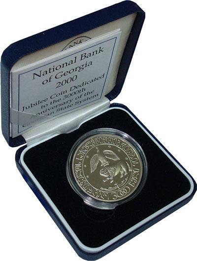 Изображение Монеты Грузия 10 лари 2000 Медно-никель Proof Подарочная монета по