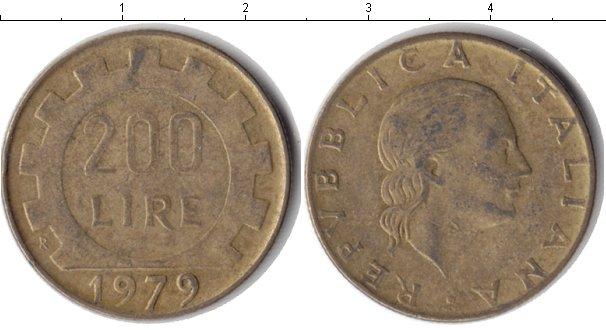 Картинка Дешевые монеты Италия 200 лир  1979