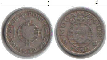 Картинка Монеты Мозамбик 2 1/2 эскудо Медно-никель 1952
