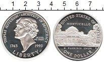 Изображение Монеты США 1 доллар 1993 Серебро Proof- Томас Джефферсон