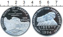 Изображение Монеты США 1 доллар 1994 Серебро Proof- Женщины в армии США