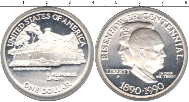 Картинка Монеты США 1 доллар Серебро 1990
