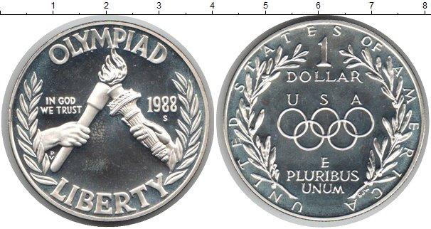 Картинка Монеты США 1 доллар Серебро 1988