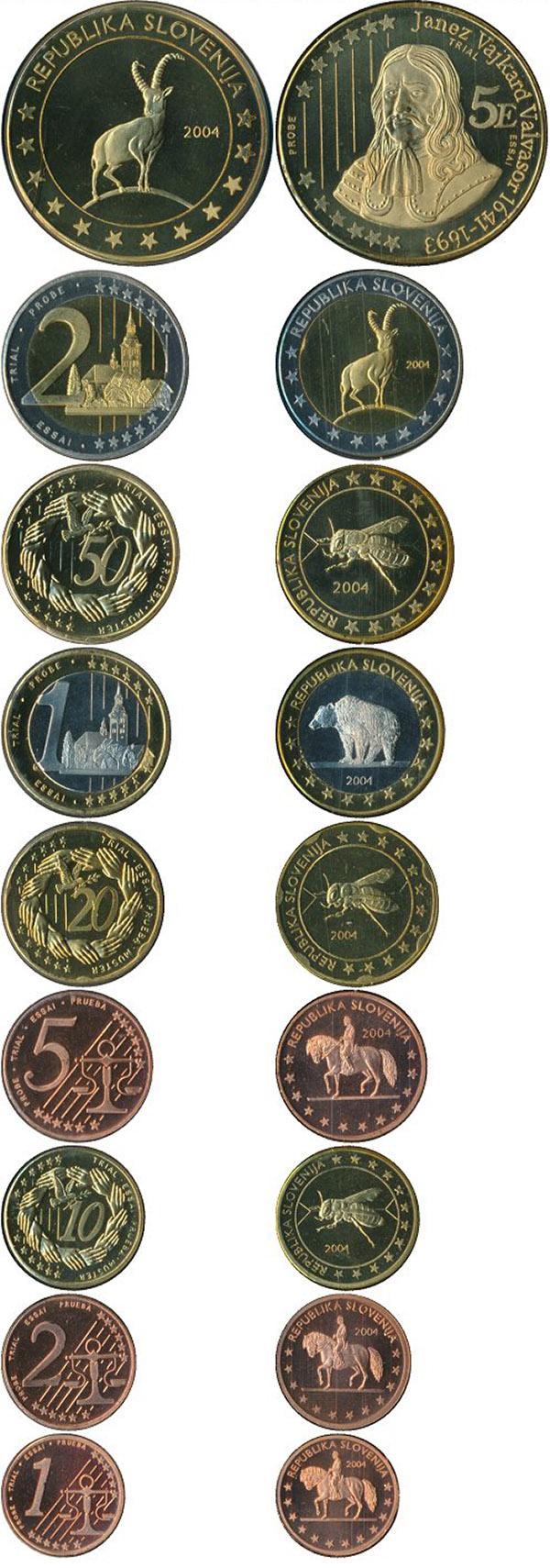 Набор монет Словения Евро-модель 2004 UNC