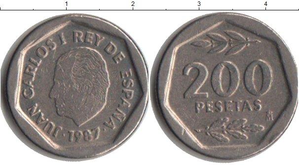Картинка Монеты Испания 200 песет Медно-никель 1987