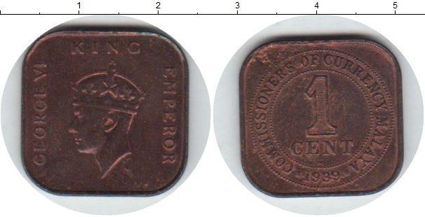 Картинка Монеты Малайя 1 цент Медь 1939