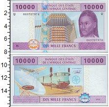 Изображение Банкноты КФА 10000 франков 2002  UNC- Поезд, самолет