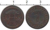 Изображение Монеты Веймарская республика 1 пфенниг 1929 Медь XF Е