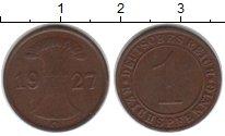 Изображение Монеты Веймарская республика 1 пфенниг 1927 Медь XF G