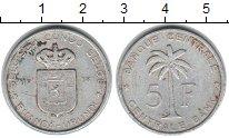 Изображение Монеты Бельгийское Конго 5 франков 1958 Алюминий VF Пальма