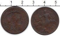 Изображение Монеты Франция 5 сантимов 1912 Медь  Республика защищает