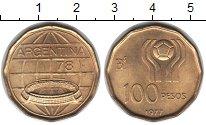Изображение Монеты Аргентина 100 песо 1977  UNC- Чемпионат мира по фу