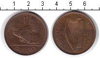 Изображение Монеты Ирландия 1 пенни 1937 Медь XF Курица с цыплятами.