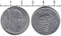 Изображение Монеты Италия 5 лир 1950 Алюминий UNC-