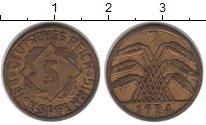 Изображение Монеты Веймарская республика 5 пфеннигов 1924  XF