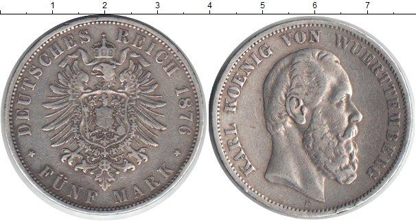 Картинка Монеты Вюртемберг 5 марок Серебро 1876