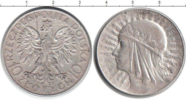 Картинка Монеты Польша 10 злотых Серебро 1932