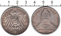 Изображение Монеты Саксония 3 марки 1913 Серебро XF 100-летие битвы при