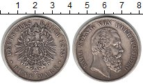 Изображение Монеты Вюртемберг 5 марок 1875 Серебро VF Карл