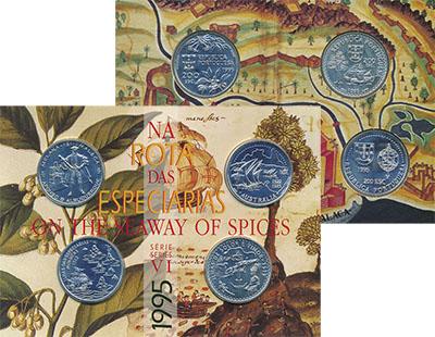 Изображение Подарочные монеты Португалия Корабли и мореплаватели 1995 Серебро UNC