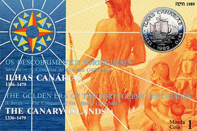 Изображение Подарочные монеты Португалия Открытие Канарских Островов 1989 Серебро UNC Представляем Вашему