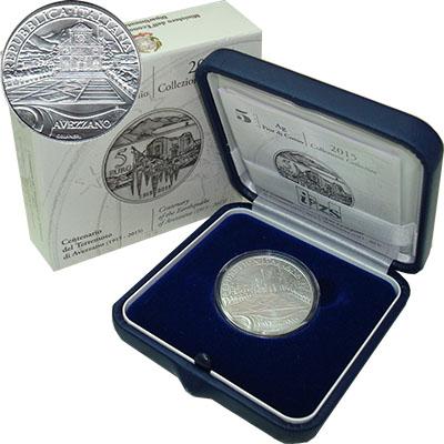 Изображение Подарочные монеты Италия Землетрясение в Авеццано 2015 Серебро Proof
