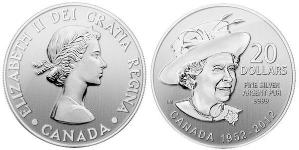 Картинка Подарочные монеты Канада Бриллиантовый Юбилей Королевы Серебро 2012