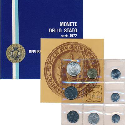 Изображение Подарочные монеты Сан-Марино Выпуск 1972 1972  UNC Представляем Вашему