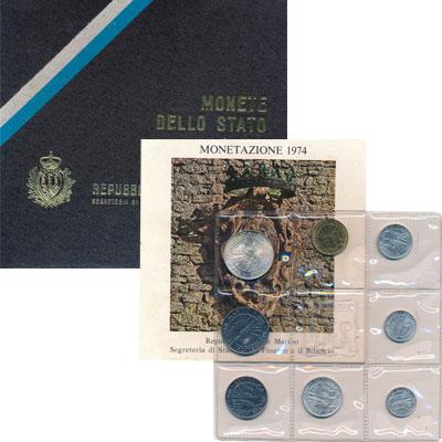 Изображение Подарочные монеты Сан-Марино Выпуск 1974 1974  UNC Представляем Вашему