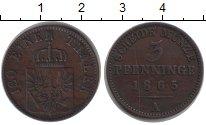 Изображение Монеты Пруссия 3 пфеннига 1865 Медь XF А