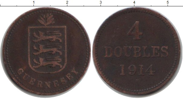 Картинка Монеты Гернси 4 дубля Медь 1914