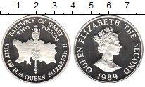Изображение Монеты Остров Джерси 2 фунта 1989 Серебро Proof-
