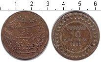 Изображение Монеты Тунис 10 сантим 1917 Медь XF Французский протекто