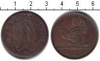 Изображение Монеты Ирландия 1 пенни 1942 Медь XF Курица с цыплятами