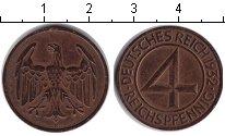 Изображение Монеты Веймарская республика 4 пфеннига 1932 Медь XF F
