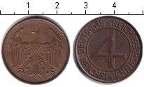 Изображение Монеты Веймарская республика 4 пфеннига 1932 Медь XF А