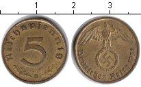 Изображение Монеты Третий Рейх 5 пфеннигов 1938 Медь XF Немецкий орел со сва