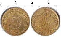 Изображение Монеты Третий Рейх 5 пфеннигов 1938 Медь VF Немецкий орел со сва