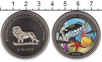 Изображение Монеты Конго 5 франков 2000 Медно-никель Proof- Защита морских обита