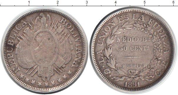 Картинка Монеты Боливия 50 сентаво Серебро 1891