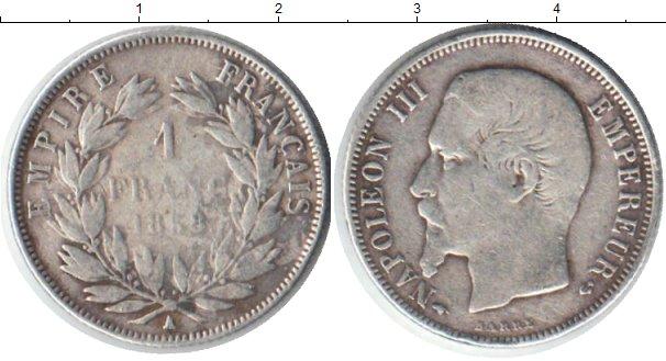Картинка Монеты Франция 1 франк Серебро 1858