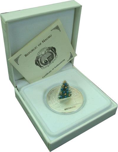 Изображение Подарочные монеты Науру Новогодняя Елочка 2008 Серебро Proof- Представляем Вашему