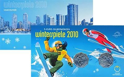 Изображение Подарочные наборы Австрия Зимние виды спорта 2010 Серебро UNC Подарочный набор пос