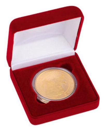 Картинка Аксессуары для монет Бархат Подарочный футляр для одной монеты, медали (Ø ячейки 40мм)  0