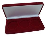 Изображение Аксессуары для монет Бархат Подарочный футляр на 3 монеты в капсулах (Ø ячеек 46мм) 0   Футляр (84х200х30 мм