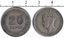 Изображение Монеты Малайя 20 центов 1943 Серебро XF Георг VI.