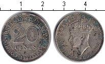 Изображение Монеты Малайя 20 центов 1943 Серебро  Георг VI.